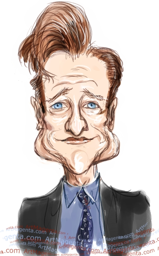 Conan O'Brien caricature cartoon. Portrait drawing by caricaturist Artmagenta