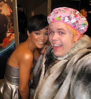 Rihanna and good friend Perez Hilton wearing Hello Kitty shower cap at party