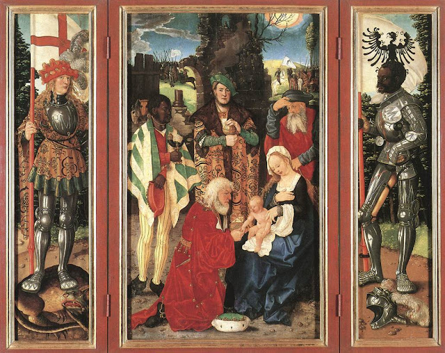 BALDUNG GRIEN, Hans Three Kings Altarpiece (open) 1507 Linden panel, 121 x 70 cm (central), 121 x 28 cm (each wing) Staatliche Museen, Berlin