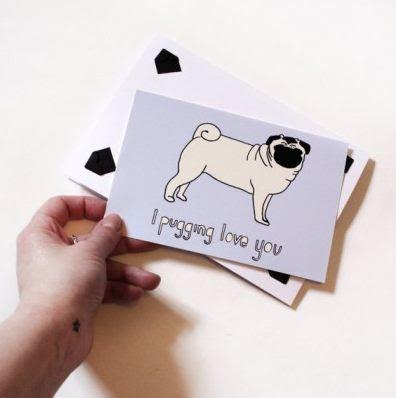 Pug valentines card
