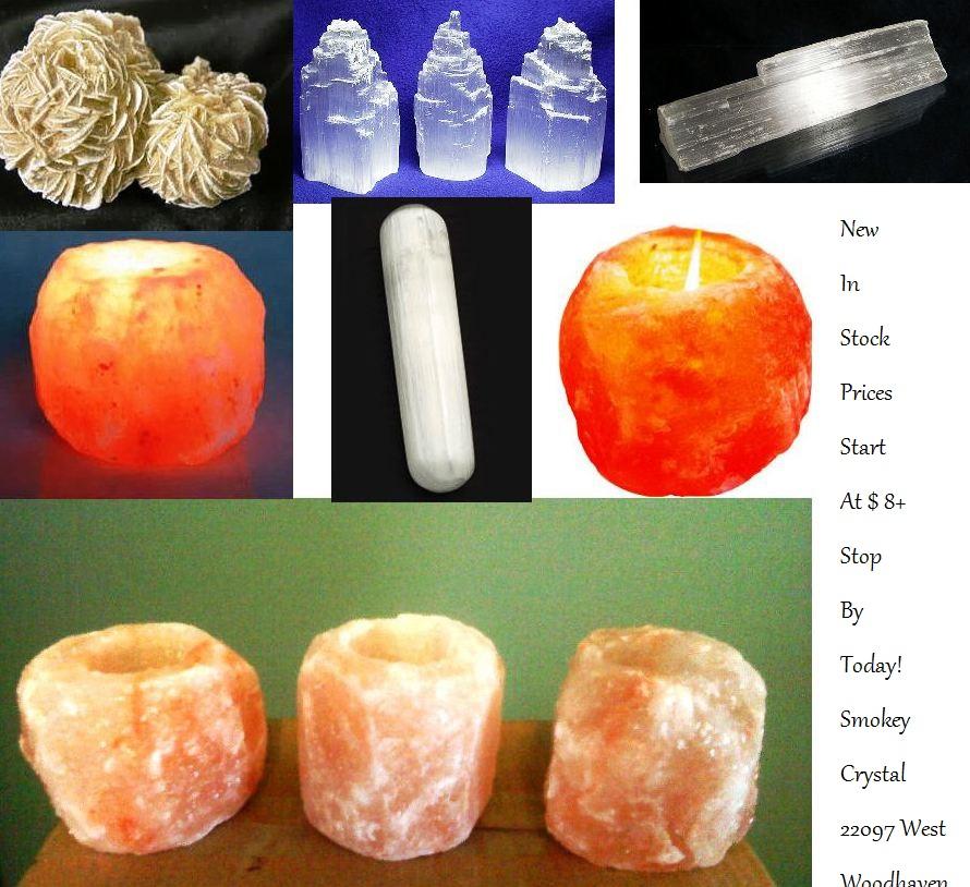 Selenite and salt lamps! Smokey Crystal Business