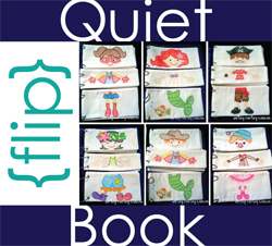 Purchase Artsy-Fartsy Mama's Quiet Flip Book pattern (one for sewing, or another for printing on cardstock and laminating.) for $10 artsyfartsymama.com