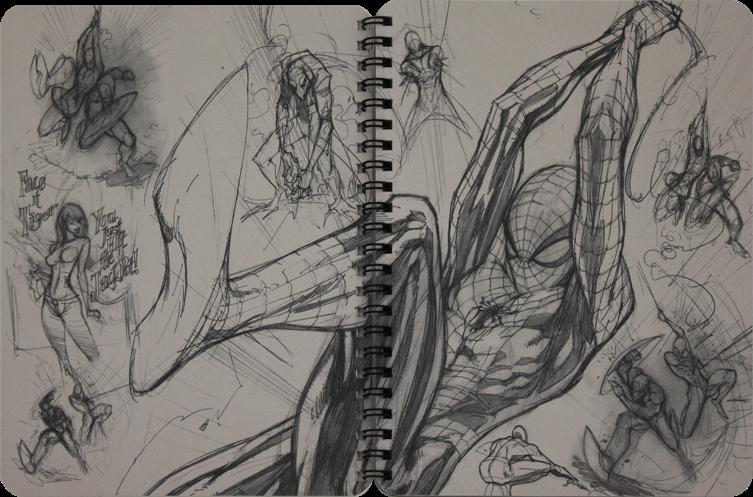 Spider-man+J.+Scott+Campbell+Ruff+Stuff+2012+Vol+1+Sketchbook+(P3-4).png