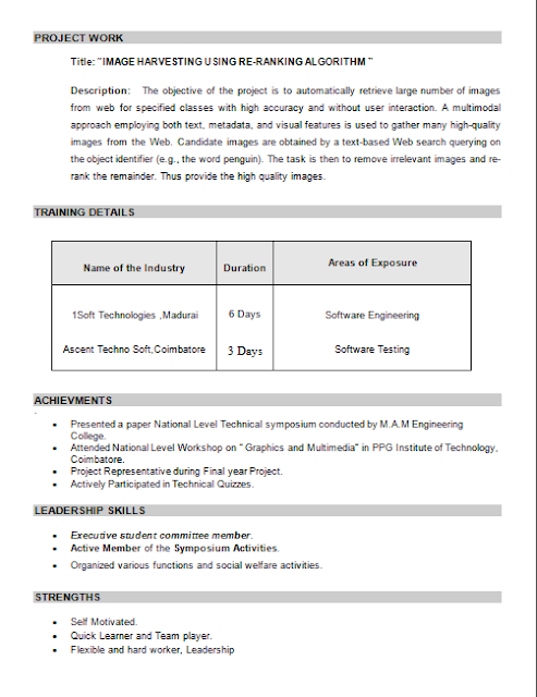 Download Nice Resume Format For Freshers
