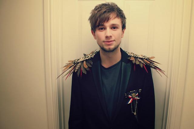 Brandon Flowers, feather jacket, blazer, feather epaulettes,