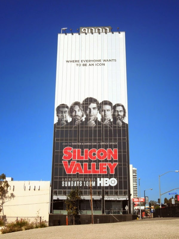 Giant Silicon Valley series launch billboard Sunset Strip