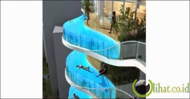 Bentuk kolam renang unik akan menambah kemewahan tersendiri untuk ...
