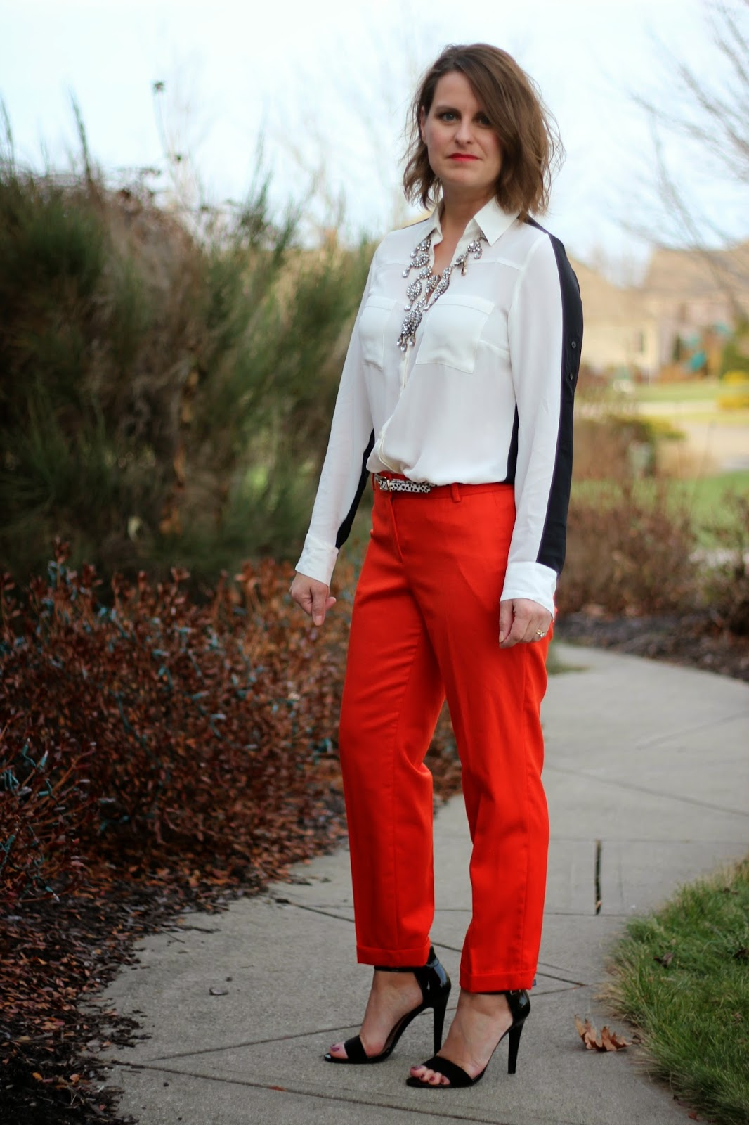 J crew tomato red pants, express two tone shirts, holiday outfit, office party look
