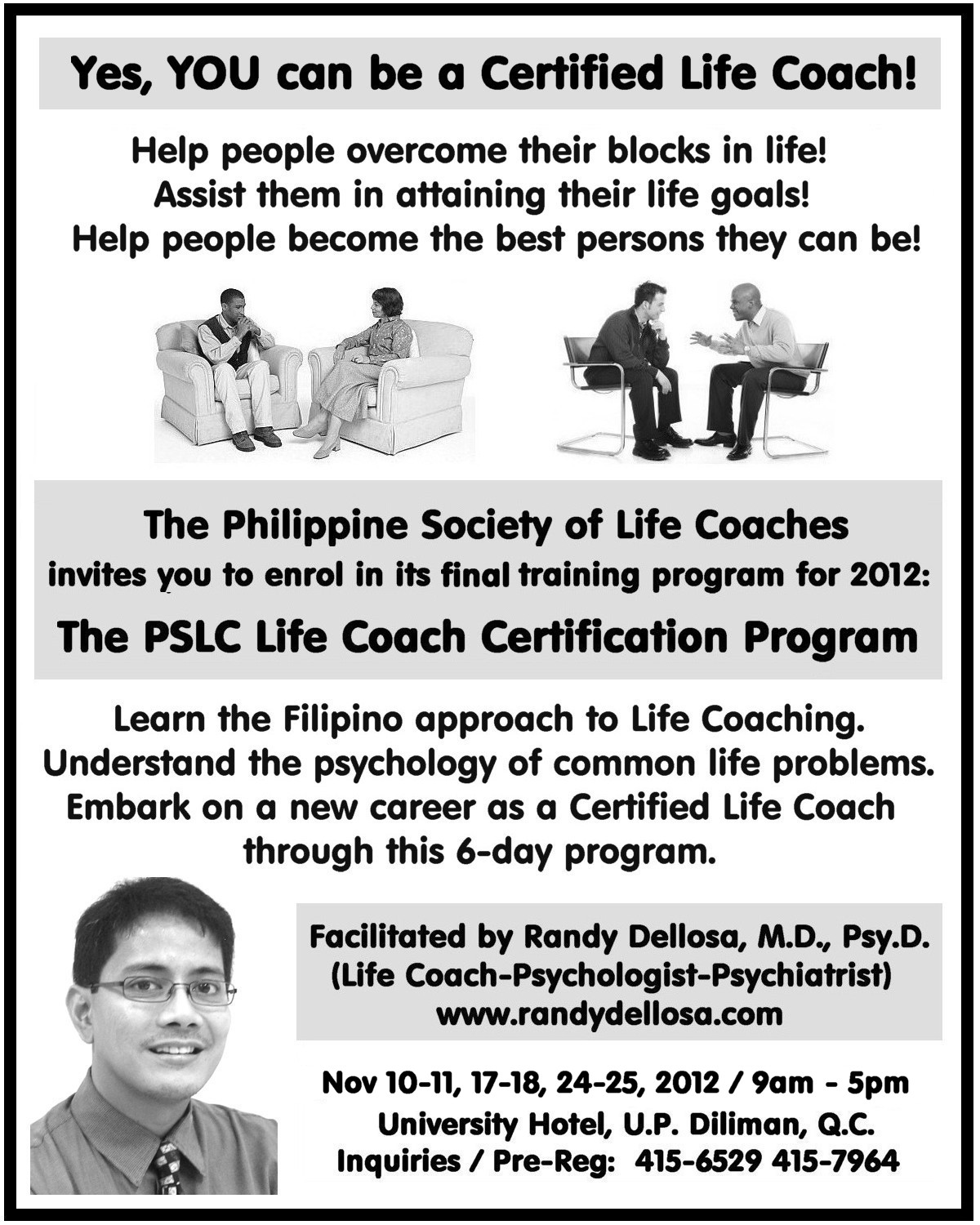 Randy dellosa the prestigious batch of new life coaches for the prestigious batch of new life coaches for 2012 life coach counselor psychotherapist clinical psychologist psychiatrist osteopath quezon city 1betcityfo Image collections