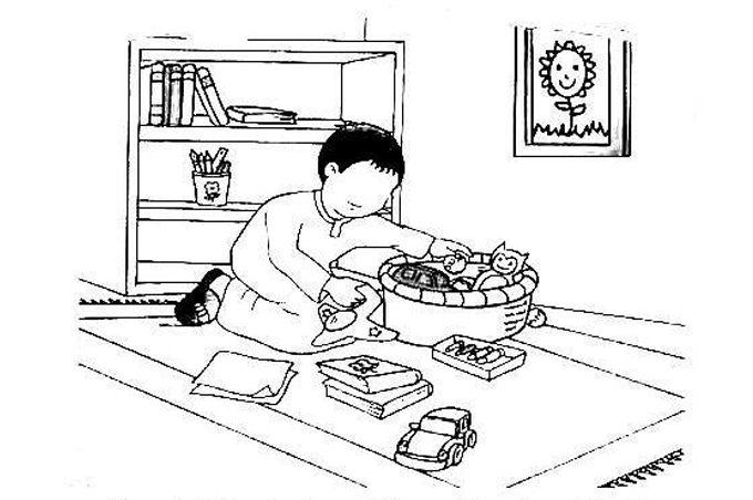 صورة طفل يرتب غرفته وادواته داخل سلة للتلوين