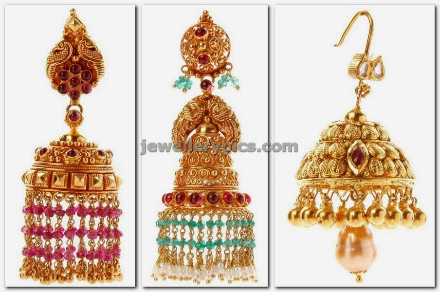 antique jhumkas designs with tassels from NAC jewellers