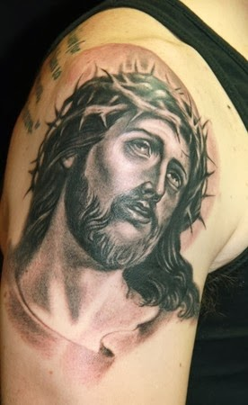 TATTOOS GALLERY WORLD: Shoulder and Arm Jesus Christ ...