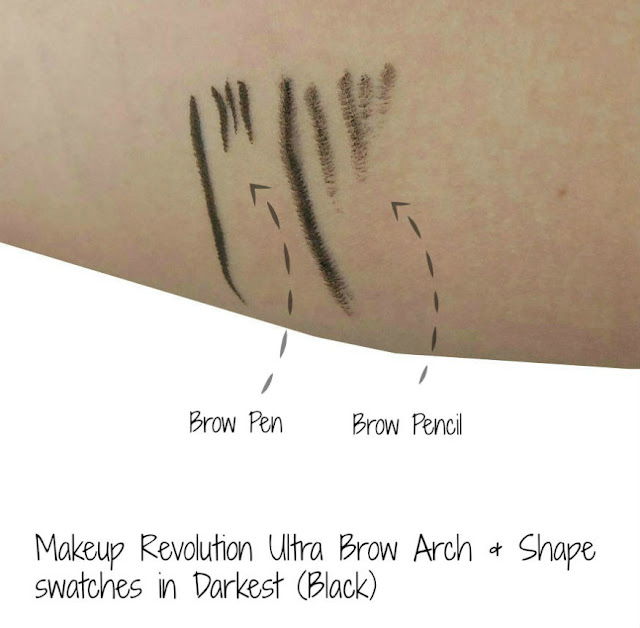 MUR brow swatch in Darkest