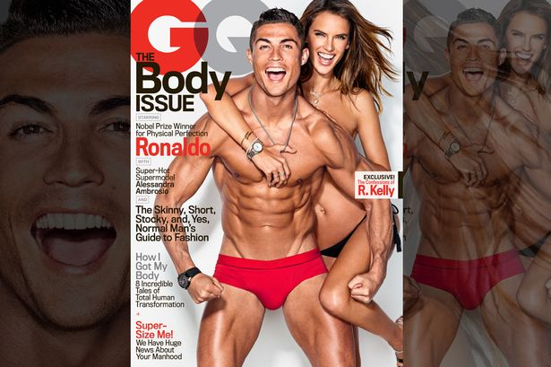 Real Madrid forward Cristiano Ronaldo appears on the latest cover of men's magazine GQ alongside model Allesandra Ambrosio.