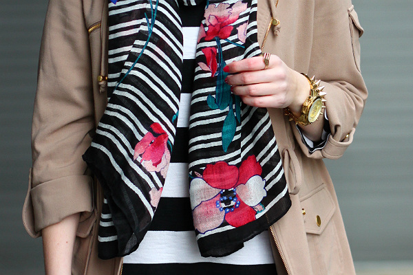 striped and floral scarf