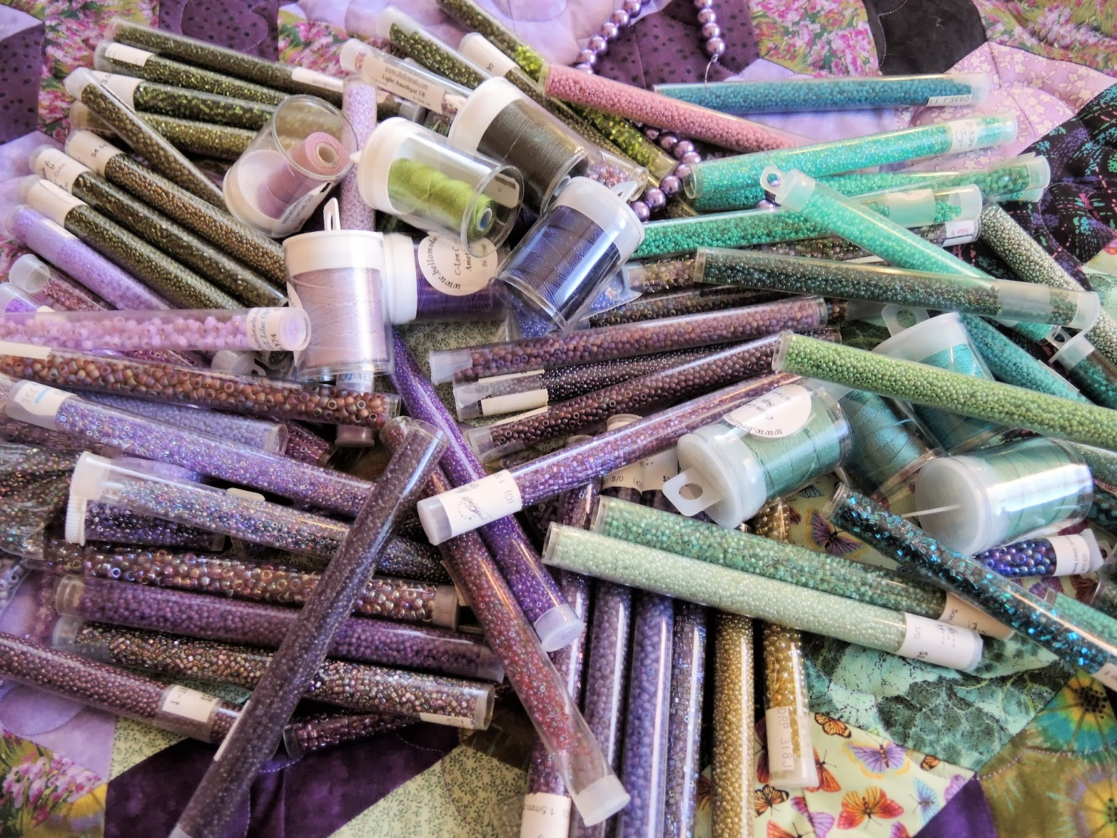 Cord and seed beads color palette