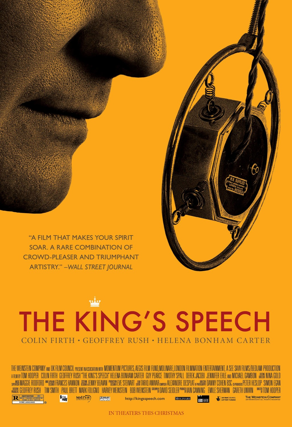 movie review the kings speech Type: movie current status: in season wide release date: 11/24/10 performer:  helena bonham  like the queen before it, the king's speech, a stately,  carefully crafted specimen of a  b+ see all of this week's reviews.