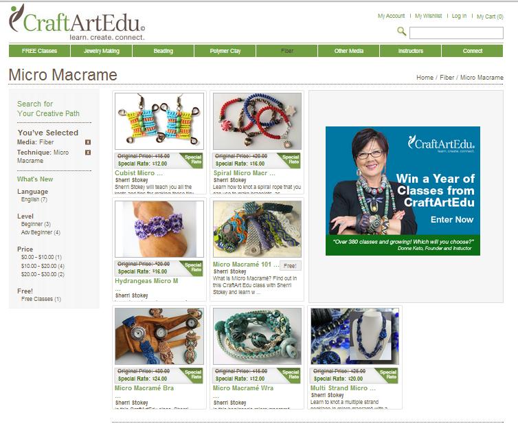 Micro macrame classes available on craftartedu.com