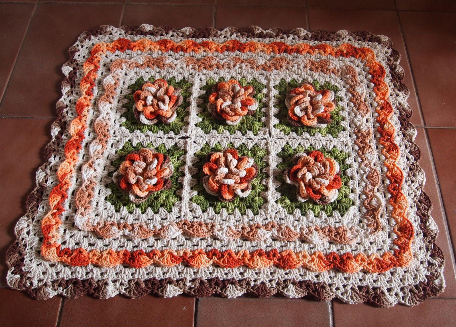os croches da elsa tapete flor   tons mesclados de marrom