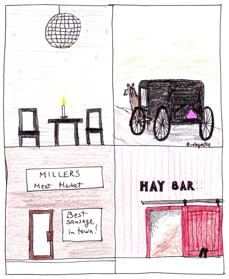 intersectionality, or how to tell if an Amish person is gay. Cartoon by robg