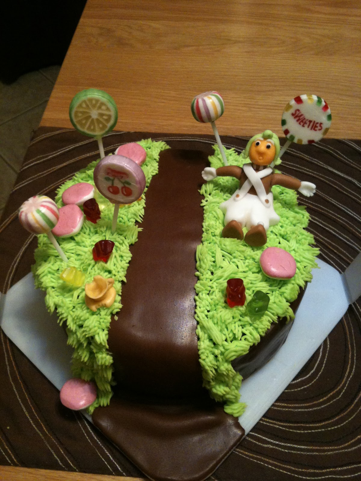 burp charlie burp it s the only way the cake escape based on the scene where willy wonka sings pure imagination this cake includes the chocolate river lolly pop trees mushrooms gummy bears and a little