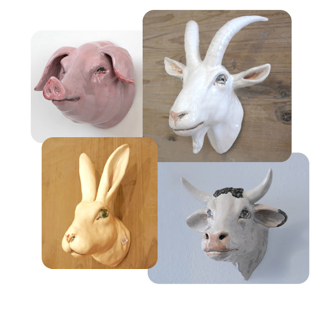 ceramic farm animal trophy heads