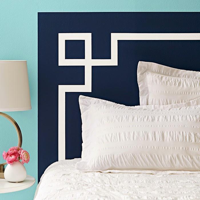Ma maison au naturel 20 id es pour peindre une t te de lit sur les murs - Peindre 2 murs sur 4 ...