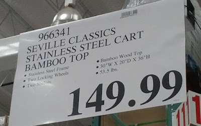 Deal for the Seville Classics Stainless Steel Prep Table with Bamboo Top at Costco