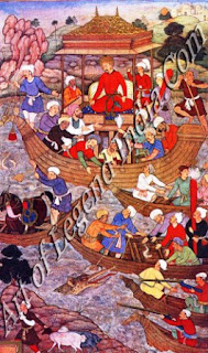 Babur Crossing the River Son Over a Bridge of Boats