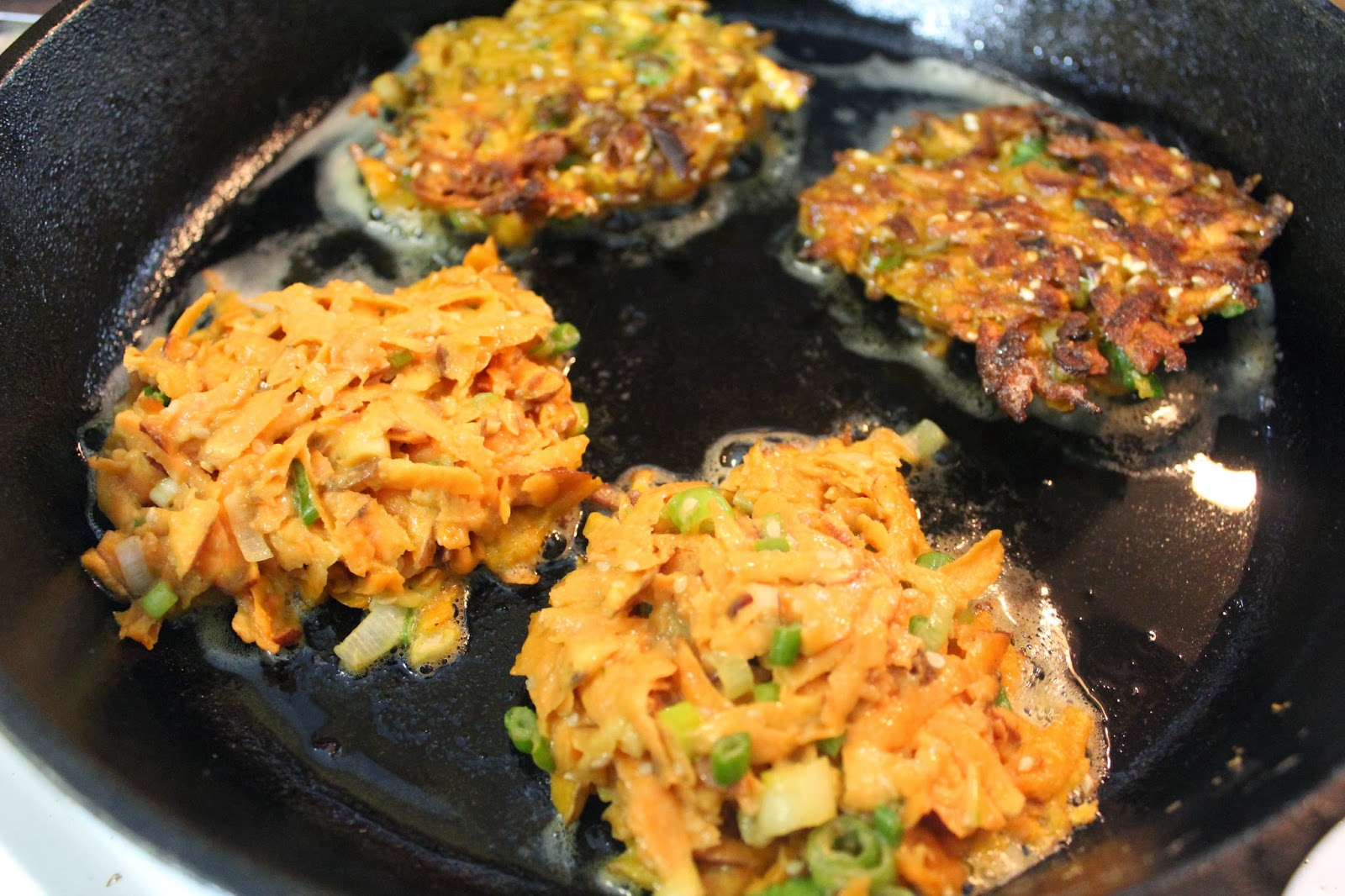 Super Simple Sesame and Scallion Sweet Potato Cakes