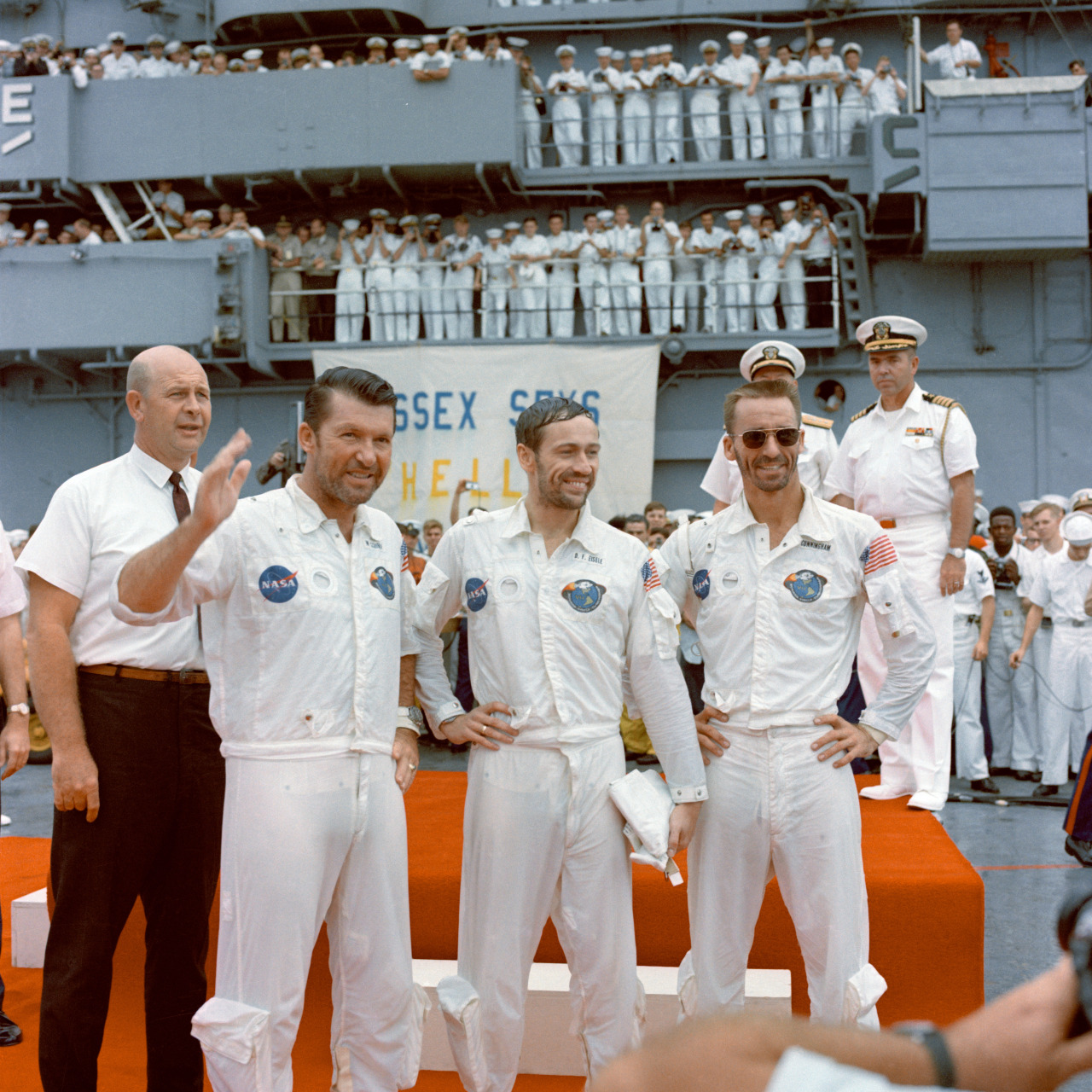 36 Amazing Historical Pictures. #9 Is Unbelievable - Apollo 7 astronauts Walter M. Schirra, Jr., Donn F. Eisele, and R. Walter Cunningham stand on recovery ship USS Essex after returning from an 11-day mission in space (October 22, 1968).