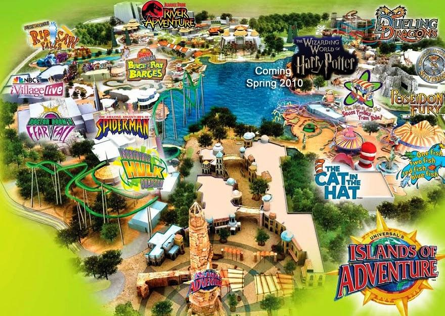 Mapa do Parque Islands of Adventure em Orlando
