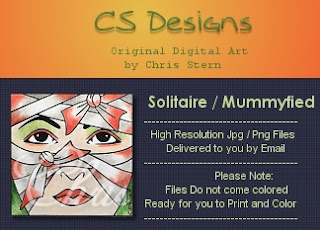 Solitaire Mummy Mask Mummyfied digital digi stamp
