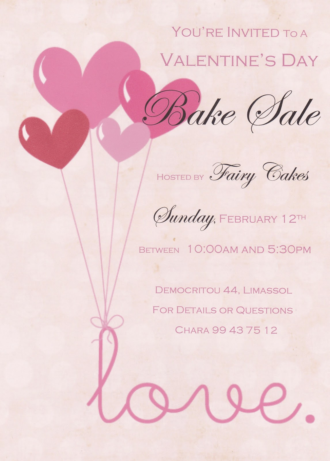 Fairy Cakes Valentine S Day Bake Sale Flyer