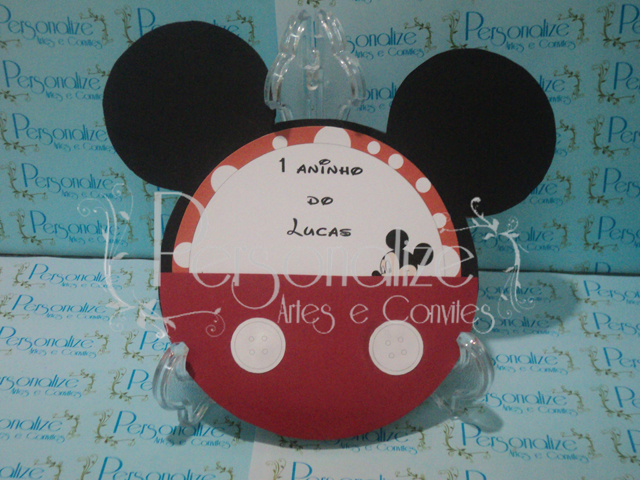Convite Mickey    Confeccionado Em Papel Color Set E Papel AP Fosco