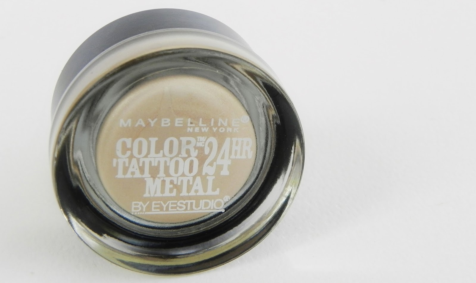 maybelline color tattoo metal 24hr cream eyeshadow review swatch barely branded