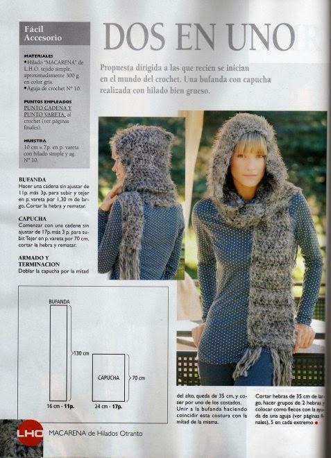 El mundo del crochet.: Bufanda con capucha