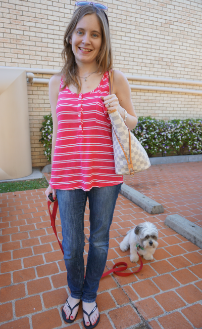 Splendid double French stripe tank in Flamingo pink with jeans