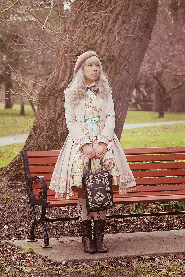 Chiffon Rose gothic classic lolita fashion photoshoot innocent world forest harvest fawn book bag kawaii jfashion tokyo fashion harajuku vintage petticoat