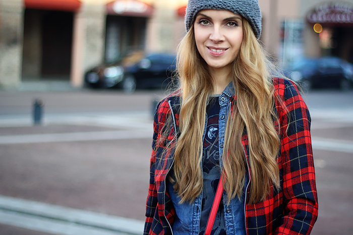 denim on denim, tartan jacket, oversized beanie, outfit