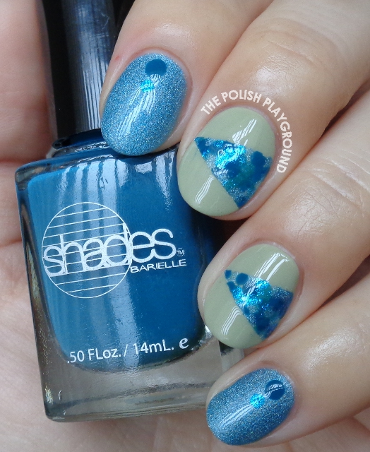 Isolated Blue Dotting Nail Art