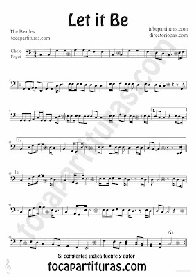 Tubescore Let it Be by The Beatles sheet music for Cello and Basson Pop - Rock Music Score