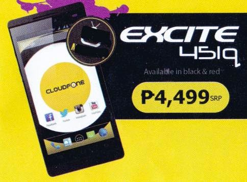Cloudfone Excite 451q, 4.5-inch IPS OGS Quad Core for Php4,499