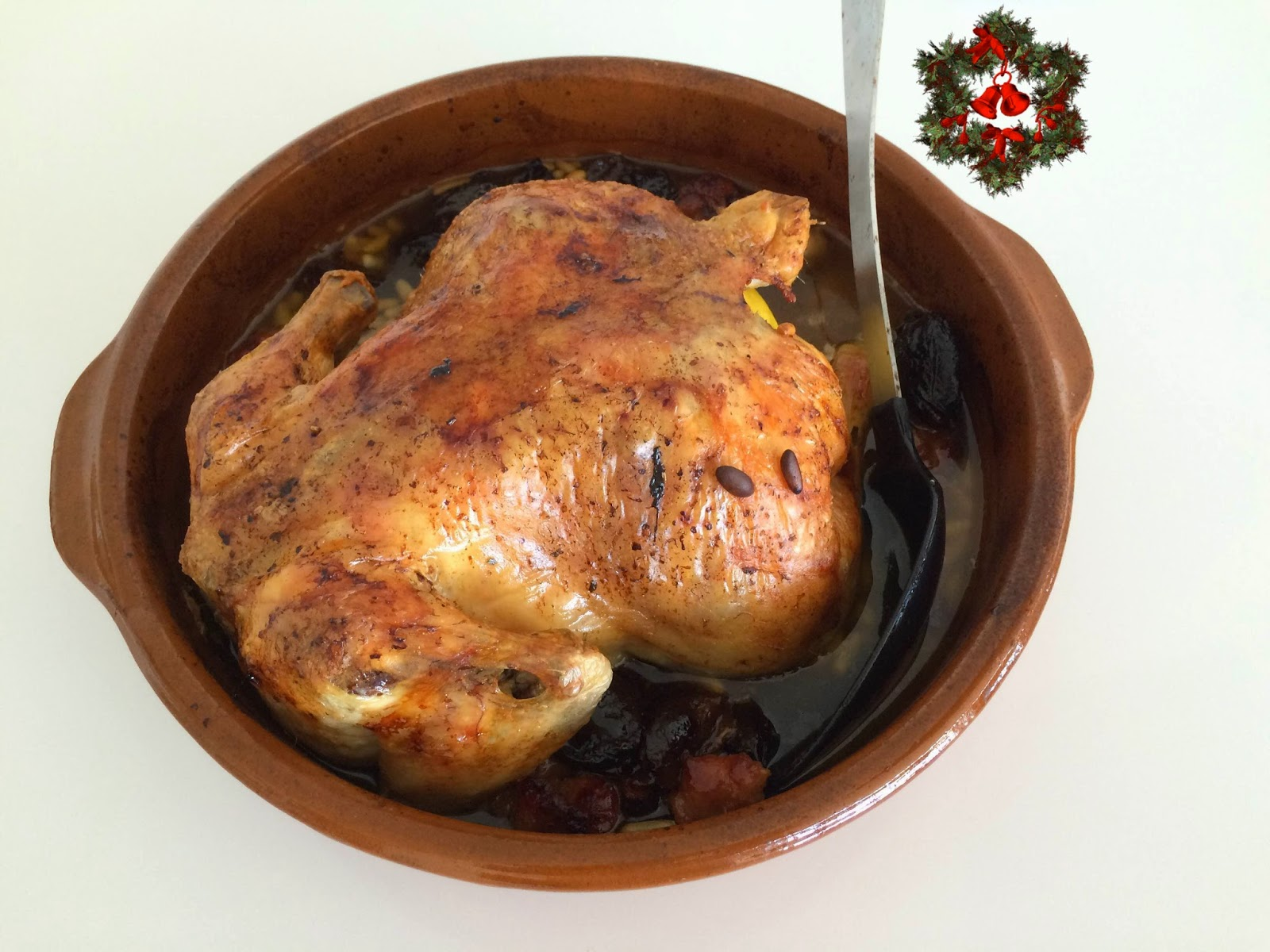 Receta de pollo relleno para Navidad