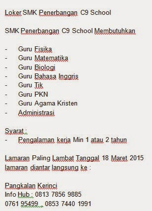 Loker SMK Penerbangan C9 School