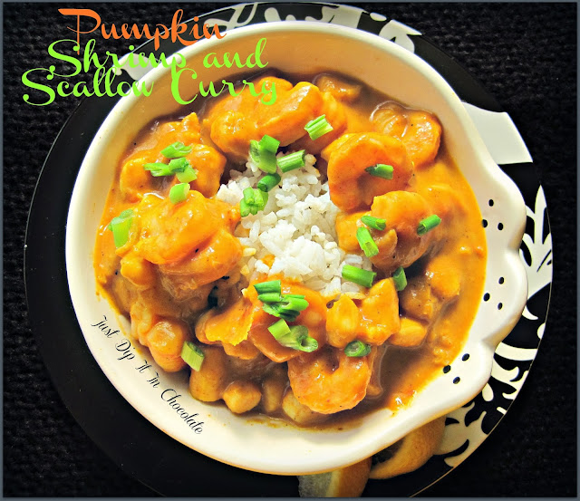 Pumpkin Shrimp and Scallop Curry Recipe, The ideal #comfortfood just the right hint of spice, flavorful pumpkin and shrimp, Save a Turkey, eat shrimp