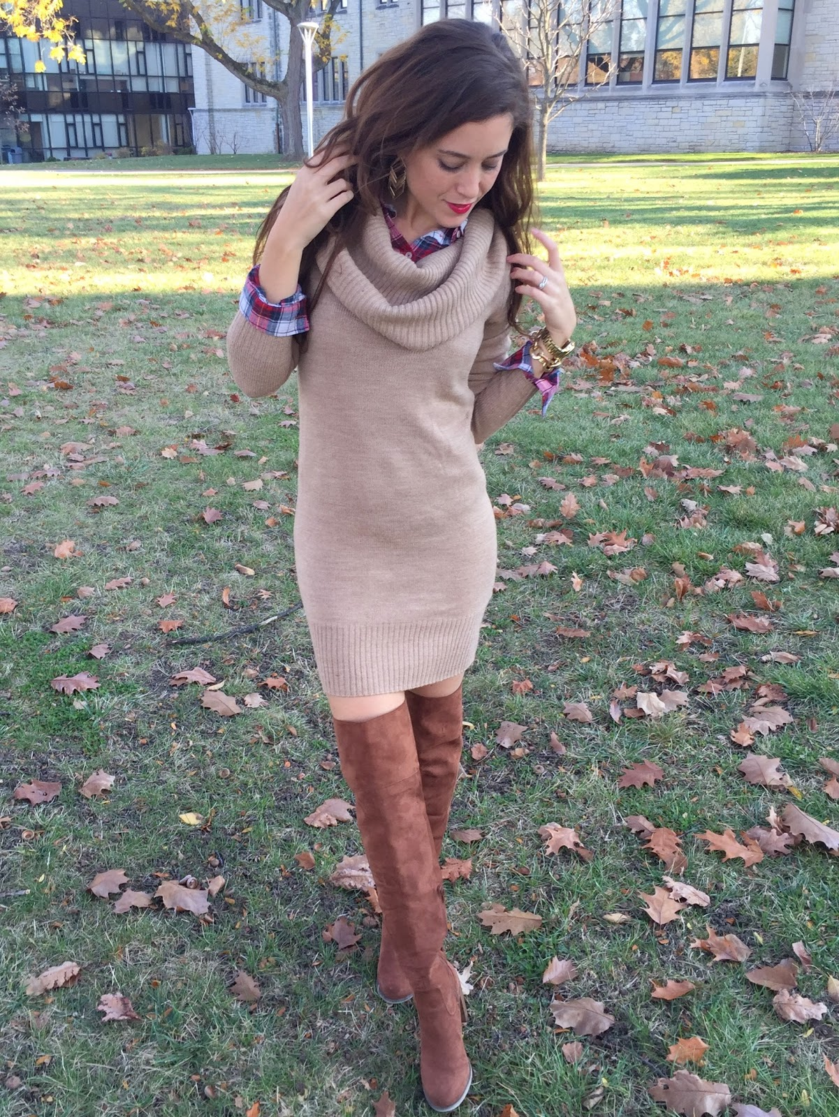 Pin Money: Cowl Neck Sweater Dress