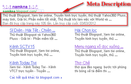 Mô tả tìm kiếm cho bài đăng và blogspot