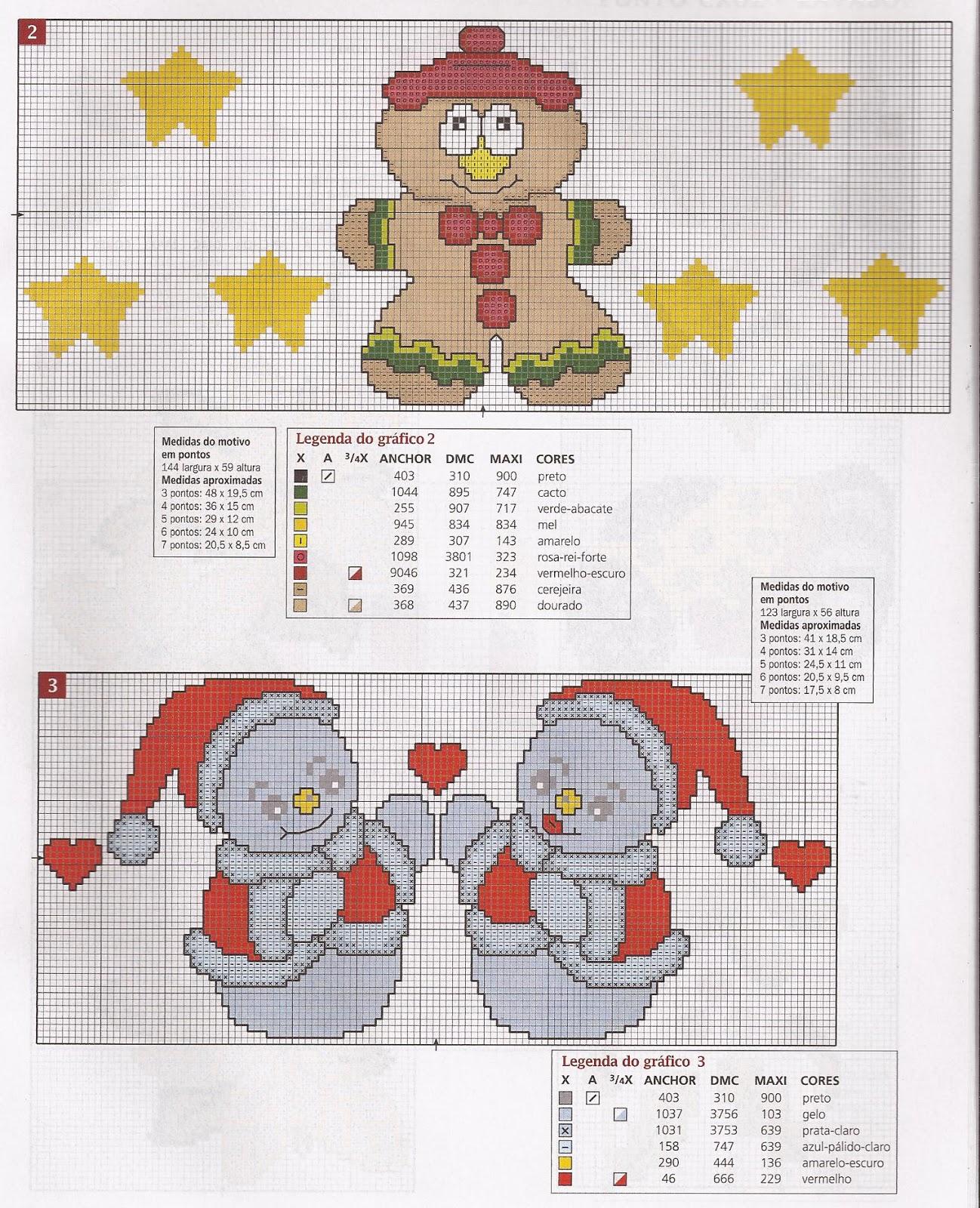 Arte em ponto cruz e crochê: Flores amigas...Gráficos para o Natal ...