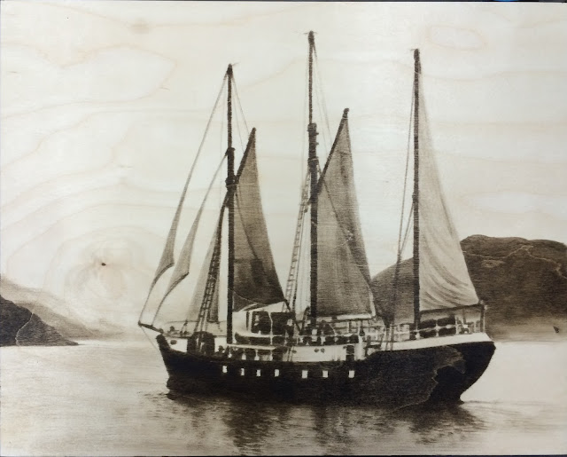woodstain, art battle, black and white painting, sail ship